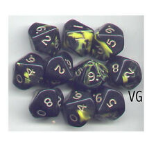 NEW RPG Dice Set of 10D10 - Oblivion Yellow