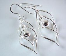 Double Wavey Hoops with Dangling Ball Earrings 925 Sterling Silver Dangle Drop