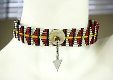 Vintage Native American Indian Hand Beaded Wire Choker Necklace Expanding Length