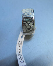 Authentic Coach Miranda Enamel Signature Ring - White/ Silver size 6 (retail 68)