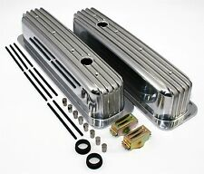 SBC 350 Vortec & TBI Retro Finned Chevy Tall Aluminum Valve Covers Center Bolt