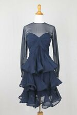 Vintage Scaasi Boutique Navy Blue Illusion Silk Accordion Pleated Dress Gown S