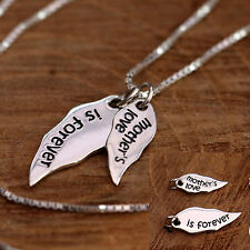 925 Sterling Silver Angel Wing & Words Stacking Pendant Necklace Gift for Mum