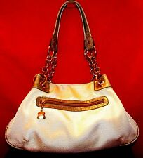 KATHY VAN ZEELAND BEIGE FABRIC MEDIUM SHOULDER BAG W GOLD & GRAY CROC PRINT