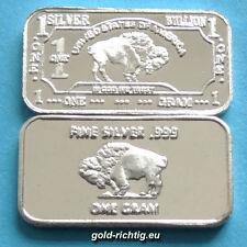 1 Gramm Silberbarren - Büffel (Silber Feinsilber Silver Buffalo Barren) NEU