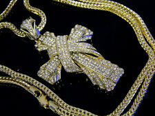 "Chunky Hip Hop Iced Out Gold Crystal Cross Jesus Pendant Franco Chain 36"" Rap"