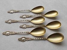 *RAR* Set von 6 Dessertlöffel Rokoko mit Rose aus 800er Silber um 1890