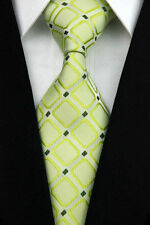 GIFTS FOR MEN Classic Mens Grid Box Check Silk Checked Necktie Formal Tie Green