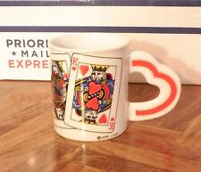 Westwood King & Queen of Hearts Poker Cards Coffee Mug Heart Shaped Handle 1995