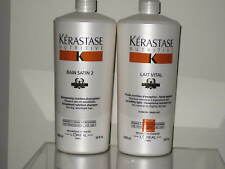 Kerastase 1L Nutritive Irisome Bain Satin 2 Shampoo+Lait Vital Conditioner Litre