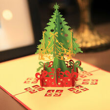 Portable Paper 3D Pop Up Greeting Card Merry Christmas Xmas Tree Postcard Gift