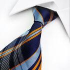 Classic Blue Orange Check 100% Jacquard Woven Silk Men's Suits Tie set Necktie