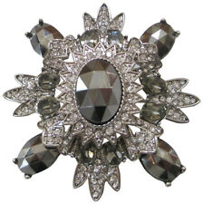 Kenneth Jay Lane Grey And Clear Crystal Pin Brooche