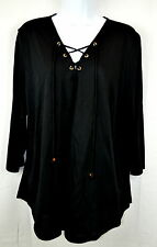 Michael Kors Womens XL Black Long Lace Up Neck Top Tunic Blouse Pullover NEW