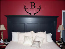 Deer Antlers and Monogram Initial Wall Sticker Wall Art Decor Vinyl Decal 17x22