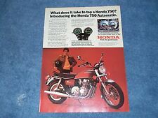 """1976 Honda 750 Automatic Vintage Ad """"What Does it Take to Top A Honda 750?"""""""