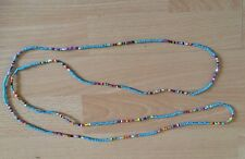 "Turquoise/multi Sead Bead Long 58"" Necklace Bracelet Hippie Love Beach Festival"
