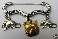 RAW BRASS CAT FACE AND SILVER TONE MOUSE CHARM SILVER TONE BROOCH / PIN B