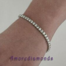 5.58 ct round ideal cut natural diamond 4prong tennis bracelet 14k white gold 7""