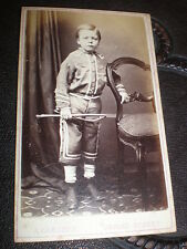 Cdv old photograph boy with whip by A Carlisle Oxford Street c1870s