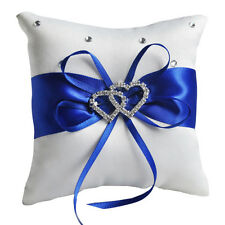 Bridal Flower Satin White Crystal Ceremony Heart Pillow Ring Bearer 10x10CM