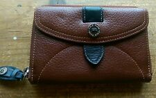Cole Haan Womens Ladies Wallet Brown w Black Accent Bill Fold Change Purse Cards