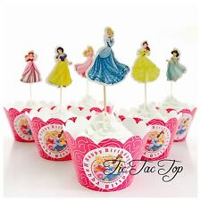 12x 6 Disney Princess Cupcake Toppers + Wrappers. Party Supplies Lolly Loot Bag