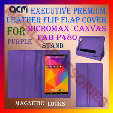 ACM-EXECUTIVE LEATHER FLIP CASE for MICROMAX CANVAS TAB P480 COVER STAND-PURPLE