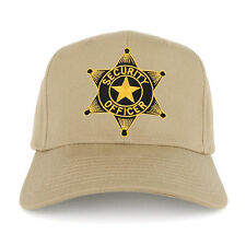Security Officer Star Embroidered Black Gold Patch Adjustable Baseball Cap