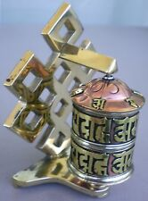 Standing Tibetan Prayer Wheel Brass Endless Knot w/ Mantra Scroll