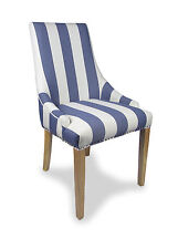 Shankar Compton Stripe Fabric Pair of Accent Chairs in Blue & White