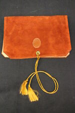 VINTAGE AMITY Leather Jewelry Roll/Travel Case Wallet, Burnt Orange & Tan
