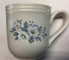 NEW COUNTRY WARE COFFEE MUG 12 oz OFF WHITE BLUE FLORAL DESIGN SCALLOPED AT RIM