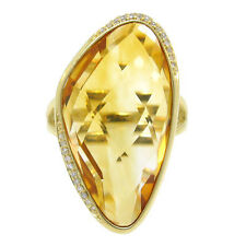 Unique 19.75tcw  14K Yellow Gold Citrine & Diamond Cocktail Ring