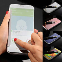 Slim Clear Touch View Mirror Flip Leather Case Cover For Samsung Galaxy S5 Neo