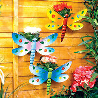 3 Wall Planters Dragonfly Pot Garden Potted Plant Metal