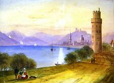 DEALERS STOCK (3) LANDSCAPE ON THE RHINE CONTINENTAL SCHOOLW/COL  C1850