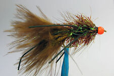 10x Mouche Streamer Wooly Bugger Marron Pattes bille Orange H10 fly leg bead