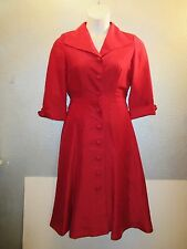 J Peterman Dupioni Dress 8 Solid Red 100% Silk Formal Mid-Calf 3/4 Sleeve~$198