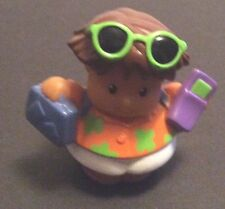 Little People Fisher Price Tourist Orange Shirt With Suitcase & Sunglasses  EUC
