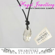 Crystal Leather Necklace With Swarovski Meteor Pendant For Man Or Women