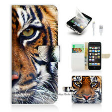 iPhone 5 5S Print Flip Wallet Case Cover! Tiger Face P0029