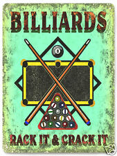 BILLARDS metal SIGN POOL table GAME ROOM wall decor mancave  GREAT GIFT 242