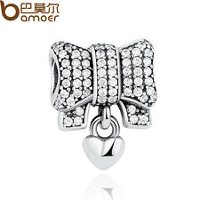 Bamoer Authentic 925 Sterling Silver Charm Heart & Bow, Clear CZ For Bracelet