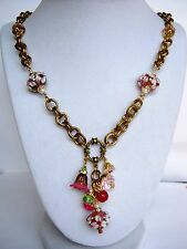 Antique Garden Glass and Crystal Charm Necklace on Vintage Miriam Haskell Chain
