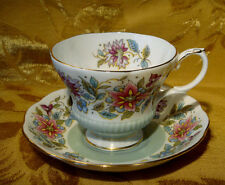 "ROYAL ALBERT BONE CHINA ""JACOBEAN"" TEA CUP & SAUCER SAGE GREEN"