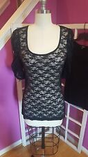 EXPRESS black sheer lace scoopneck 3/4 sleeve fitted top w/puff sleeves. Medium