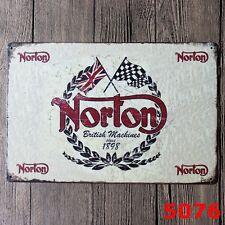 Metal Tin Sign norton motorcycle  Decor Bar Pub Home Vintage Retro Poster Cafe