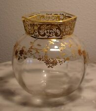 Victorian Antique Art Glass Webb Soda Rose Bowl with Jules Barbe Decoration