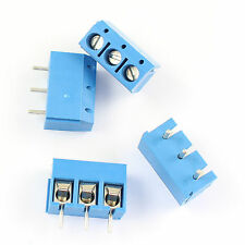 100 Pcs Blue 5mm Pitch 3 Pin 3 Way PCB Screw Terminal Block Connector MG301-3P